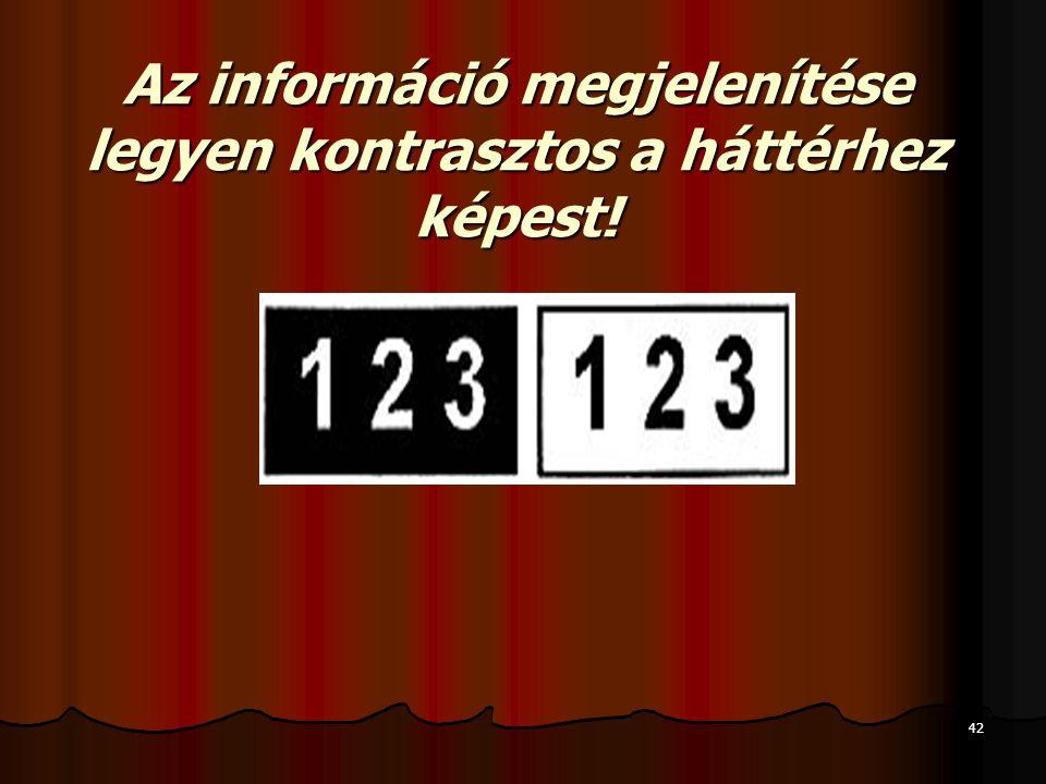 42 Az információ megjelenítése legyen kontrasztos a háttérhez képest!