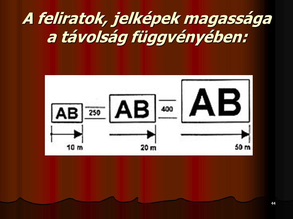 44 A feliratok, jelképek magassága a távolság függvényében: