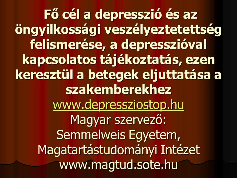 Fő cél a depresszió és az öngyilkossági veszélyeztetettség felismerése, a depresszióval kapcsolatos tájékoztatás, ezen keresztül a betegek eljuttatása a szakemberekhez www.depressziostop.hu Magyar szervező: Semmelweis Egyetem, Magatartástudományi Intézet www.magtud.sote.hu Fő cél a depresszió és az öngyilkossági veszélyeztetettség felismerése, a depresszióval kapcsolatos tájékoztatás, ezen keresztül a betegek eljuttatása a szakemberekhez www.depressziostop.hu Magyar szervező: Semmelweis Egyetem, Magatartástudományi Intézet www.magtud.sote.hu www.depressziostop.hu