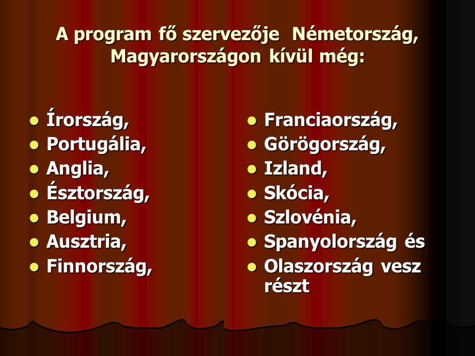 A program fő szervezője Németország, Magyarországon kívül még:  Írország,  Portugália,  Anglia,  Észtország,  Belgium,  Ausztria,  Finnország,  Franciaország,  Görögország,  Izland,  Skócia,  Szlovénia,  Spanyolország és  Olaszország vesz részt