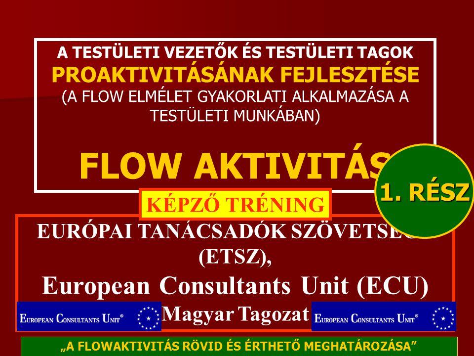 A TESTÜLETI VEZETŐK ÉS TESTÜLETI TAGOK PROAKTIVITÁSÁNAK FEJLESZTÉSE (A FLOW ELMÉLET GYAKORLATI ALKALMAZÁSA A TESTÜLETI MUNKÁBAN) FLOW AKTIVITÁS EURÓPAI TANÁCSADÓK SZÖVETSÉGE (ETSZ), European Consultants Unit (ECU) Magyar Tagozat KÉPZŐ TRÉNING 1.