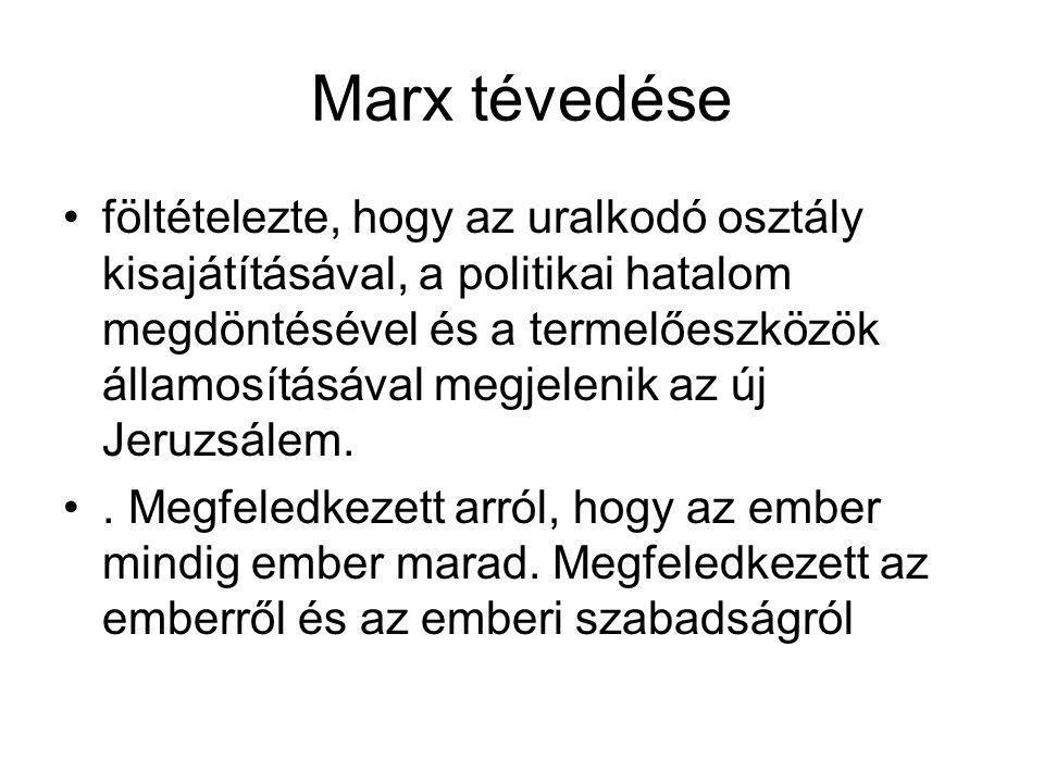 Marx tévedése •föltételezte, hogy az uralkodó osztály kisajátításával, a politikai hatalom megdöntésével és a termelőeszközök államosításával megjelenik az új Jeruzsálem.