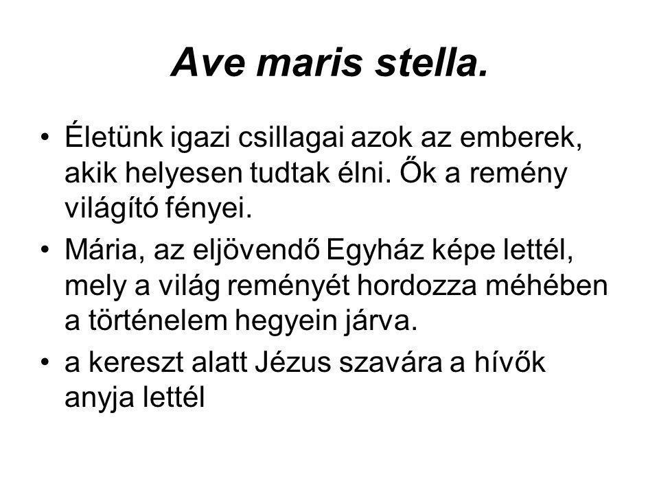 Ave maris stella. •Életünk igazi csillagai azok az emberek, akik helyesen tudtak élni. Ők a remény világító fényei. •Mária, az eljövendő Egyház képe l