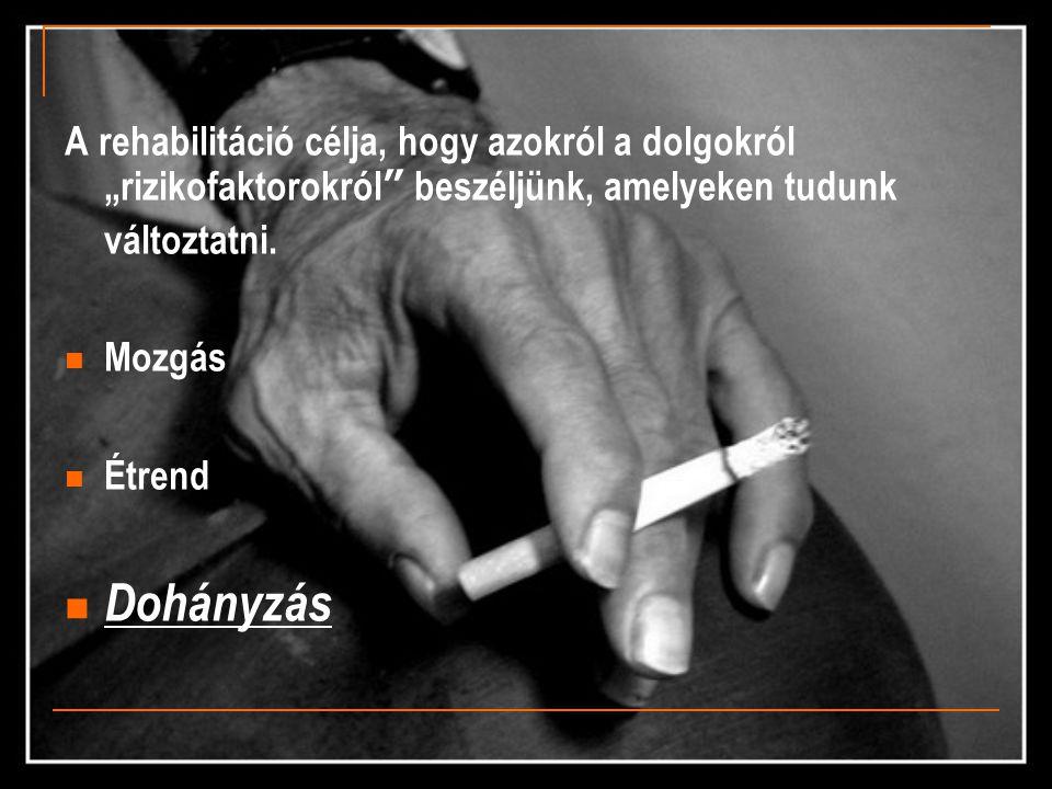 """A rehabilitáció célja, hogy azokról a dolgokról """"rizikofaktorokról"""" beszéljünk, amelyeken tudunk változtatni.  Mozgás  Étrend  Dohányzás"""