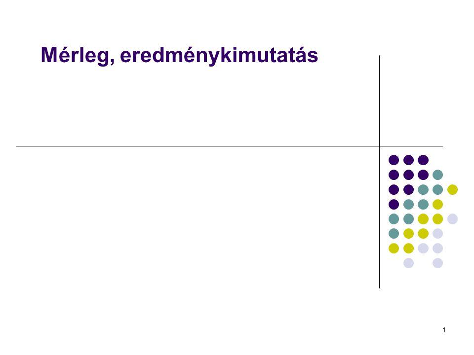 12 Mérleg, eredménykimutatás Eredménykimutatás Fogalma: a vállalkozás mérlegszerinti eredményének levezetését szolgáló számviteli okmány.