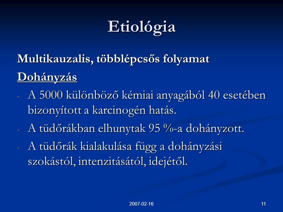 112007-02-16 Etiológia Multikauzalis, többlépcsős folyamat Dohányzás - A 5000 különböző kémiai anyagából 40 esetében bizonyított a karcinogén hatás.