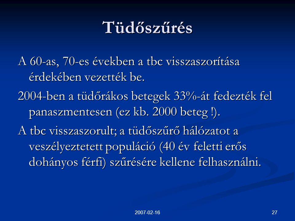 272007-02-16 Tüdőszűrés A 60-as, 70-es években a tbc visszaszorítása érdekében vezették be.