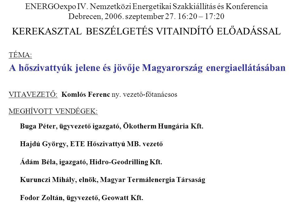 ENERGOexpo IV. Nemzetközi Energetikai Szakkiállítás és Konferencia Debrecen, 2006. szeptember 27. 16:20 – 17:20 KEREKASZTAL BESZÉLGETÉS VITAINDÍTÓ ELŐ