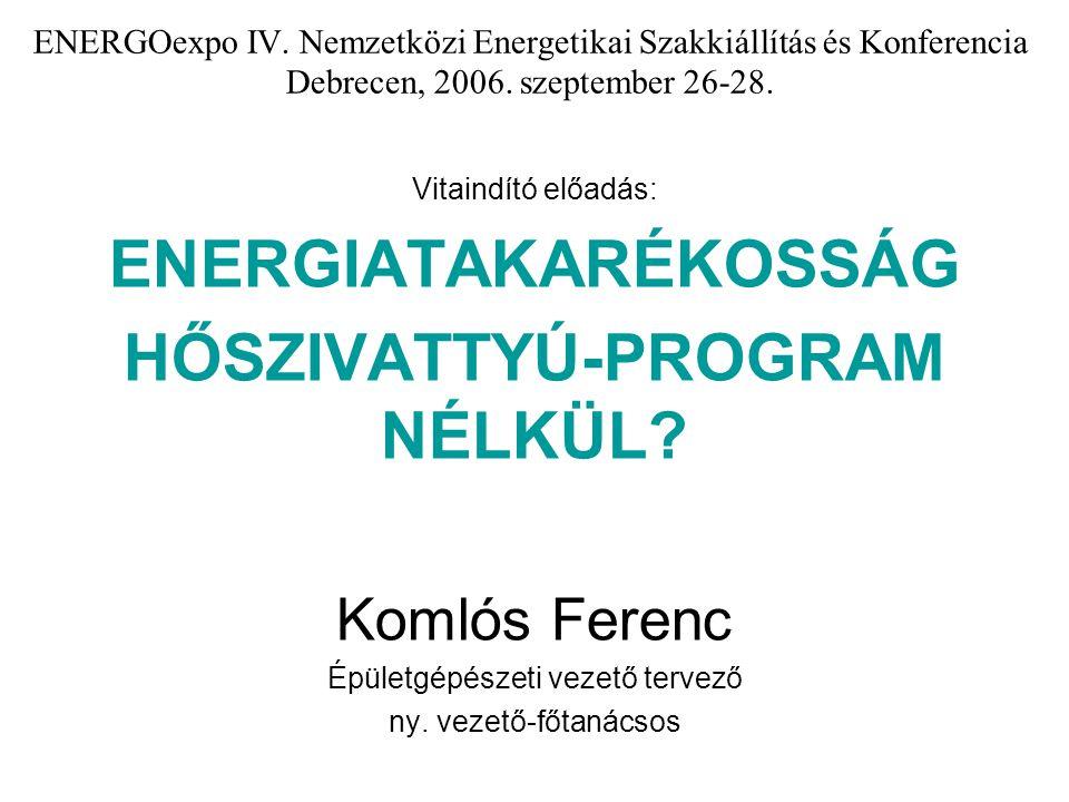 ENERGOexpo IV. Nemzetközi Energetikai Szakkiállítás és Konferencia Debrecen, 2006. szeptember 26-28. Vitaindító előadás: ENERGIATAKARÉKOSSÁG HŐSZIVATT