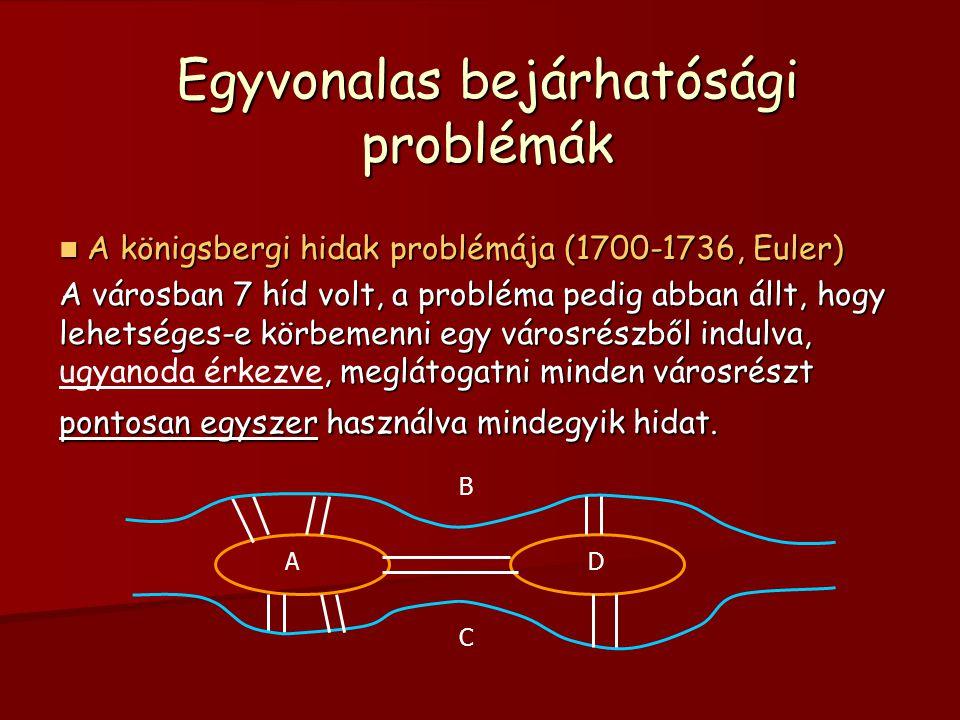 Egyvonalas bejárhatósági problémák  A A A A königsbergi hidak problémája (1700-1736, Euler) A városban 7 híd volt, a probléma pedig abban állt, hogy lehetséges-e körbemenni egy városrészből indulva, ugyanoda érkezve, meglátogatni minden városrészt pontosan egyszer használva mindegyik hidat.