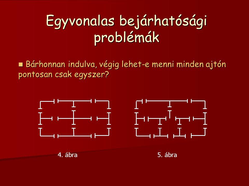       5 3 3 3 Mivel 2-nél több csúcs fokszáma páratlan, ezért az Euler tételei értelmében a gráf nem rajzolható meg egy vonallal, tehát a séta nem lehetséges 
