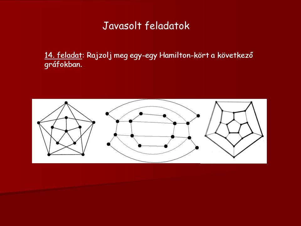 Javasolt feladatok 14. feladat: Rajzolj meg egy-egy Hamilton-kört a következő gráfokban.