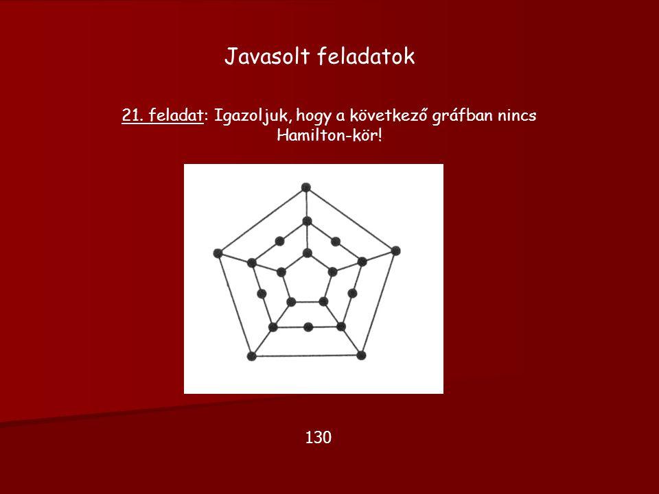 Javasolt feladatok 21. feladat: Igazoljuk, hogy a következő gráfban nincs Hamilton-kör! 130