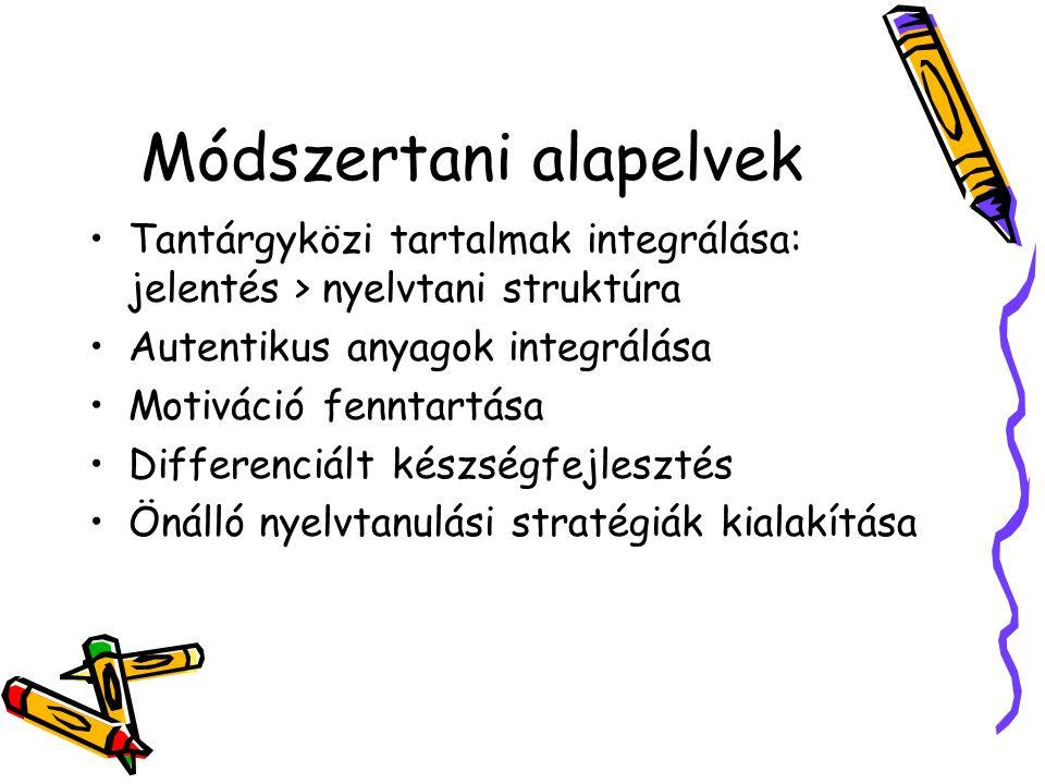 Módszertani alapelvek •Tantárgyközi tartalmak integrálása: jelentés > nyelvtani struktúra •Autentikus anyagok integrálása •Motiváció fenntartása •Differenciált készségfejlesztés •Önálló nyelvtanulási stratégiák kialakítása