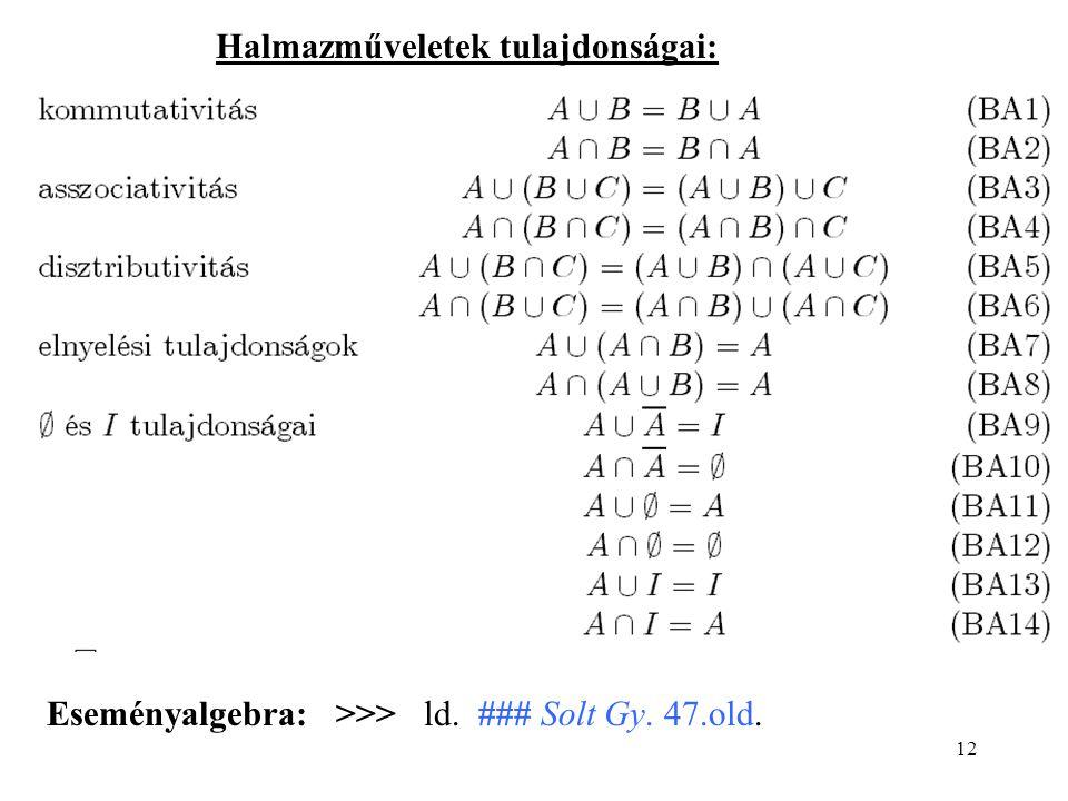 12 Halmazműveletek tulajdonságai: Eseményalgebra: >>> ld. ### Solt Gy. 47.old.