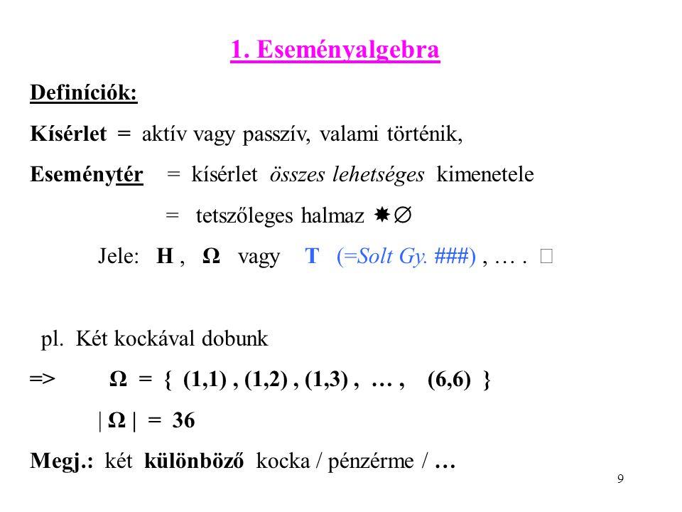 9 1. Eseményalgebra Definíciók: Kísérlet = aktív vagy passzív, valami történik, Eseménytér = kísérlet összes lehetséges kimenetele = tetszőleges halma