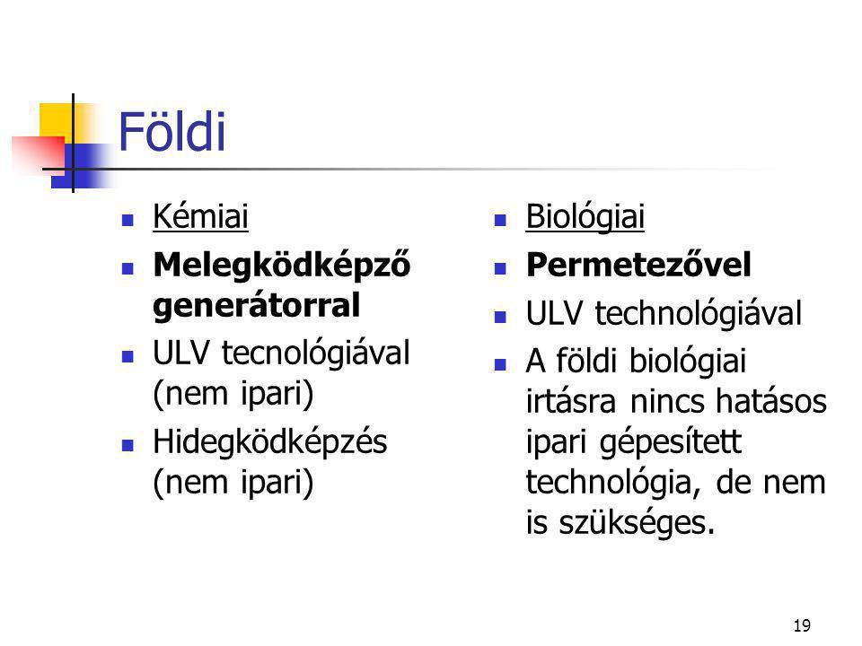 19 Földi  Kémiai  Melegködképző generátorral  ULV tecnológiával (nem ipari)  Hidegködképzés (nem ipari)  Biológiai  Permetezővel  ULV technológiával  A földi biológiai irtásra nincs hatásos ipari gépesített technológia, de nem is szükséges.