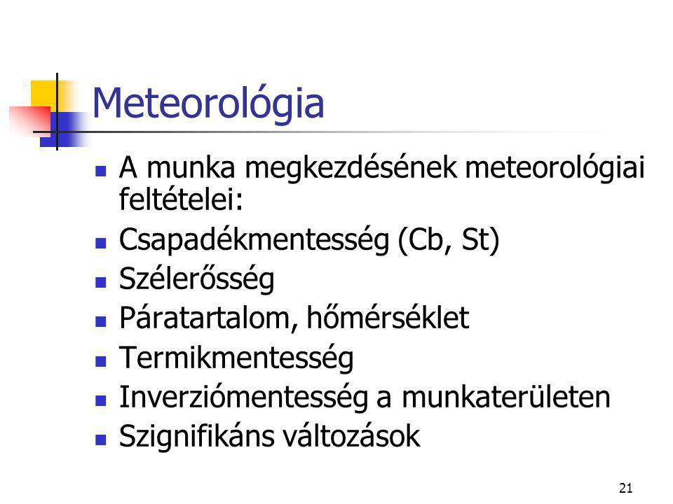 21 Meteorológia  A munka megkezdésének meteorológiai feltételei:  Csapadékmentesség (Cb, St)  Szélerősség  Páratartalom, hőmérséklet  Termikmentesség  Inverziómentesség a munkaterületen  Szignifikáns változások