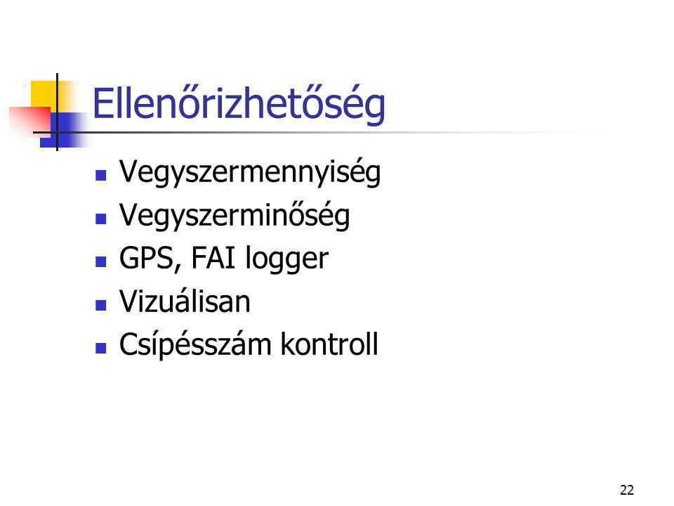 22 Ellenőrizhetőség  Vegyszermennyiség  Vegyszerminőség  GPS, FAI logger  Vizuálisan  Csípésszám kontroll