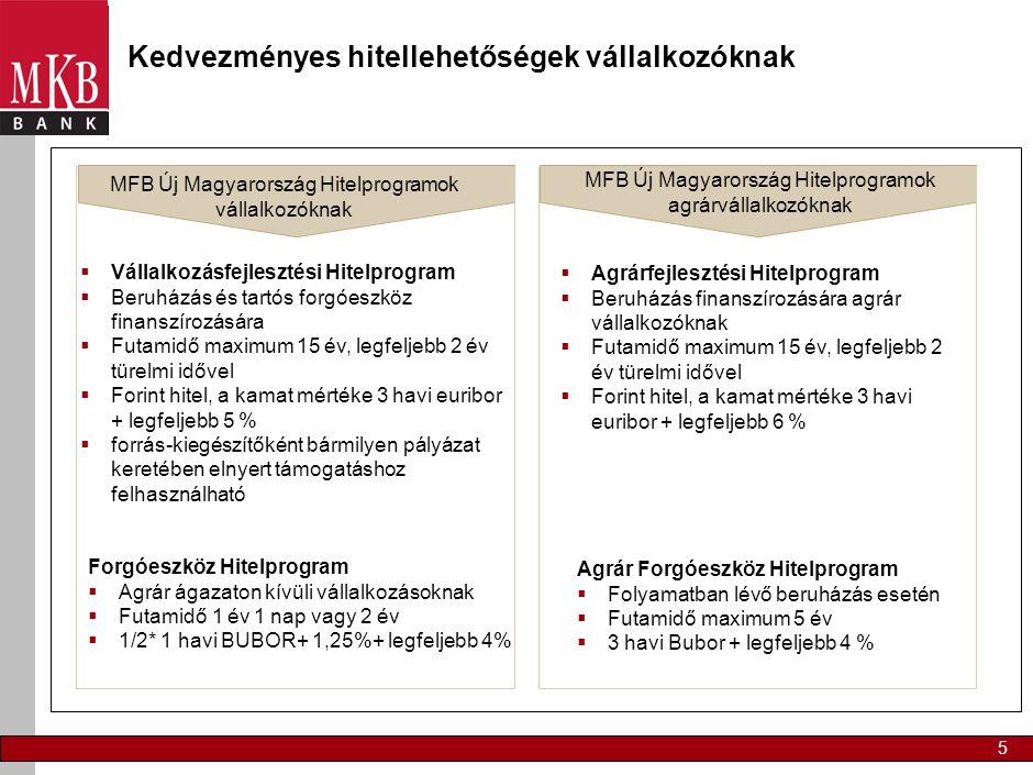 5 Kedvezményes hitellehetőségek vállalkozóknak  Vállalkozásfejlesztési Hitelprogram  Beruházás és tartós forgóeszköz finanszírozására  Futamidő max