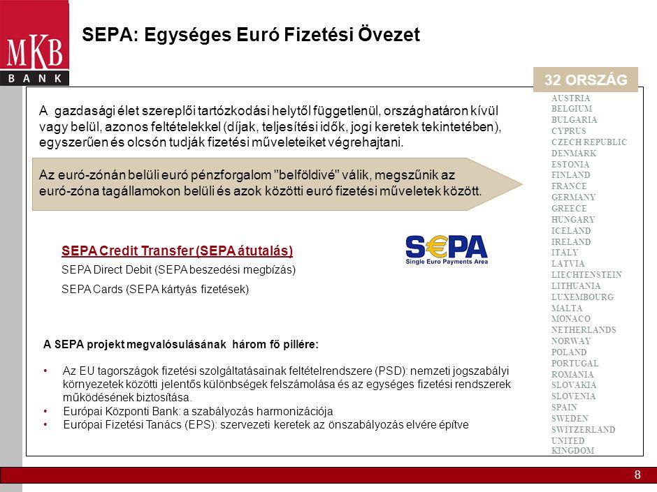 8 SEPA: Egységes Euró Fizetési Övezet A SEPA projekt megvalósulásának három fő pillére: •Az EU tagországok fizetési szolgáltatásainak feltételrendszer