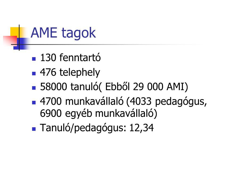 AME tagok  130 fenntartó  476 telephely  58000 tanuló( Ebből 29 000 AMI)  4700 munkavállaló (4033 pedagógus, 6900 egyéb munkavállaló)  Tanuló/pedagógus: 12,34