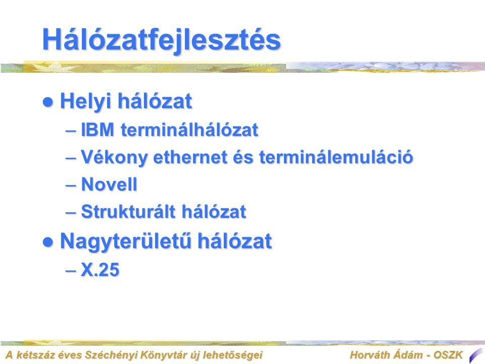 A kétszáz éves Széchényi Könyvtár új lehetőségei Horváth Ádám - OSZK Hálózatfejlesztés  Helyi hálózat –IBM terminálhálózat –Vékony ethernet és terminálemuláció –Novell –Strukturált hálózat  Nagyterületű hálózat –X.25