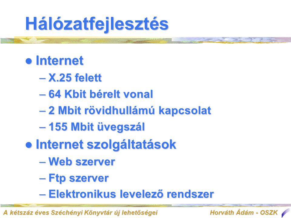A kétszáz éves Széchényi Könyvtár új lehetőségei Horváth Ádám - OSZK  Internet –X.25 felett –64 Kbit bérelt vonal –2 Mbit rövidhullámú kapcsolat –155 Mbit üvegszál  Internet szolgáltatások –Web szerver –Ftp szerver –Elektronikus levelező rendszer Hálózatfejlesztés