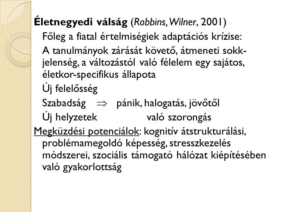 Életnegyedi válság (Robbins, Wilner, 2001) Főleg a fiatal értelmiségiek adaptációs krízise: A tanulmányok zárását követő, átmeneti sokk- jelenség, a v