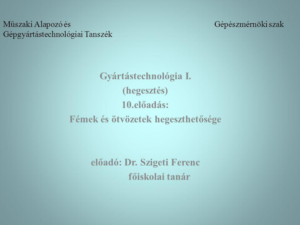 Műszaki Alapozó és Gépészmérnöki szak Gépgyártástechnológiai Tanszék Gyártástechnológia I. (hegesztés) 10.előadás: Fémek és ötvözetek hegeszthetősége