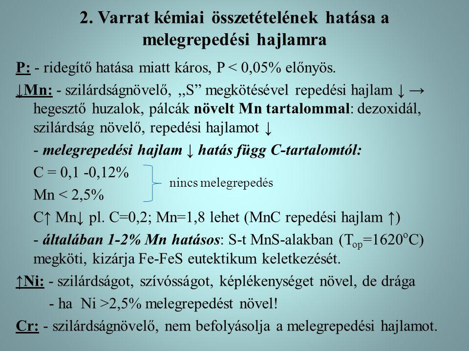 """2. Varrat kémiai összetételének hatása a melegrepedési hajlamra P: - ridegítő hatása miatt káros, P < 0,05% előnyös. ↓Mn: - szilárdságnövelő,,,S"""" megk"""
