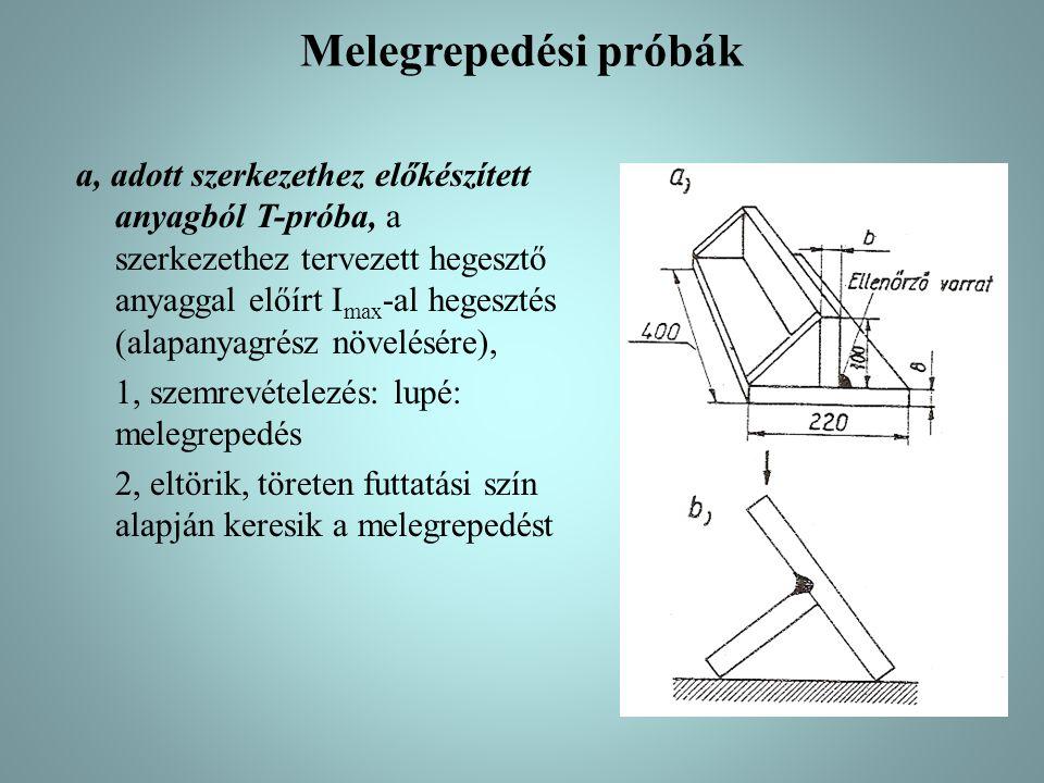 Melegrepedési próbák a, adott szerkezethez előkészített anyagból T-próba, a szerkezethez tervezett hegesztő anyaggal előírt I max -al hegesztés (alapa