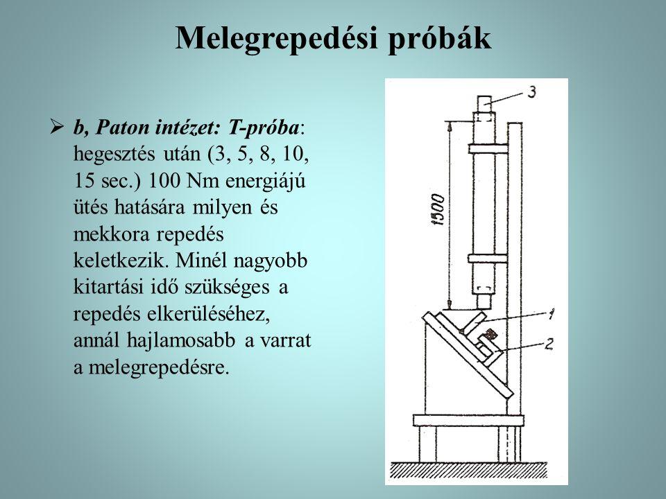 Melegrepedési próbák  b, Paton intézet: T-próba: hegesztés után (3, 5, 8, 10, 15 sec.) 100 Nm energiájú ütés hatására milyen és mekkora repedés kelet