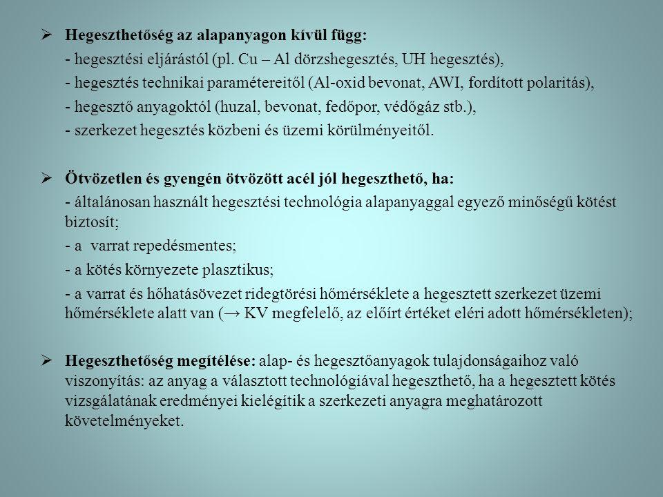  Hegeszthetőség az alapanyagon kívül függ: - hegesztési eljárástól (pl. Cu – Al dörzshegesztés, UH hegesztés), - hegesztés technikai paramétereitől (