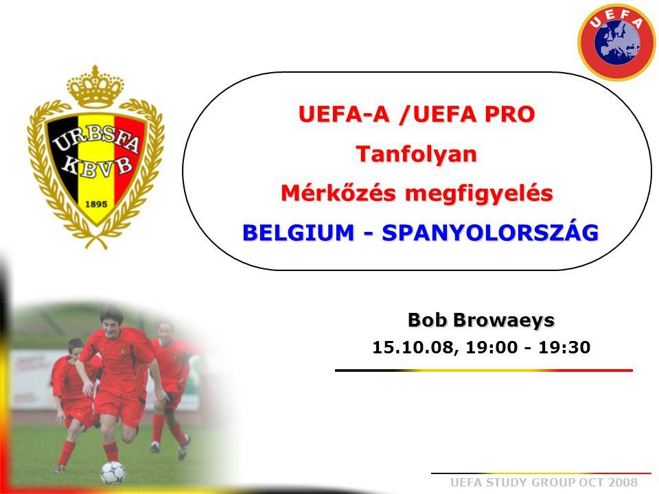UEFA STUDY GROUP OCT 2008 KOLLEKTÍV ANALÍZIS • Alap megfigyelés: játékrendszer, viselkedés labdabirtoklásnál, labdaszerzésnél… • A csapat felvázolása : B+, B-, analízis vonalakban: támadás, középpálya, védelem… • Presszing: hol, hogyan, ki… • Játék felépítés: egyérintős, többérintős játék, begyakorolt sémák, játékosok belebonyolódnak a játékba… • Átmenetek: támadásba, védekezésbe, gyors/lassú, kihagyások… EGYÉNI ÉRTÉKELÉS • Minden egyes játékos egyéni értékelése: fizikálisan, technikailag, mentálisan… • A játékban betöltött szerep minősége: párharcok, játék felépítés, pozíciós játék… MÉRKŐZÉS ANALÍZIS