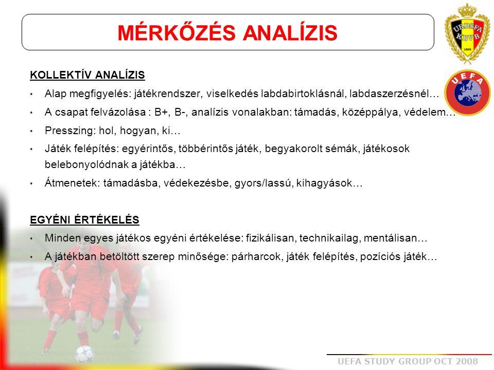 UEFA STUDY GROUP OCT 2008 STRATÉGIA • Begyakorolt sémák: támadás, védekezés, kockáztatás, játék alakítás...