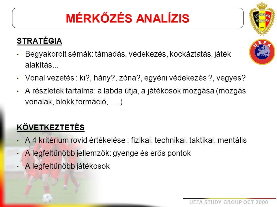 UEFA STUDY GROUP OCT 2008 STATISZTIKÁK  Információk, melyek nem részei a mérkőzés analízisnek, de aktuális információkat tartalmaznak a megfigyelt csapatra vonatkozóan: •Győzelmek, vereségek, döntetlenek száma (otthon, idegenben), gólkülönbség •A kapott, ill.