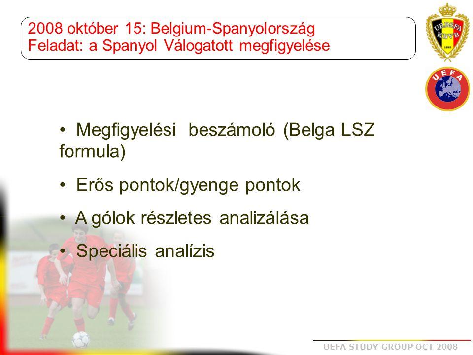 UEFA STUDY GROUP OCT 2008 Részletes beszámoló Megfigyelési beszámoló (Belga LSZ formula)