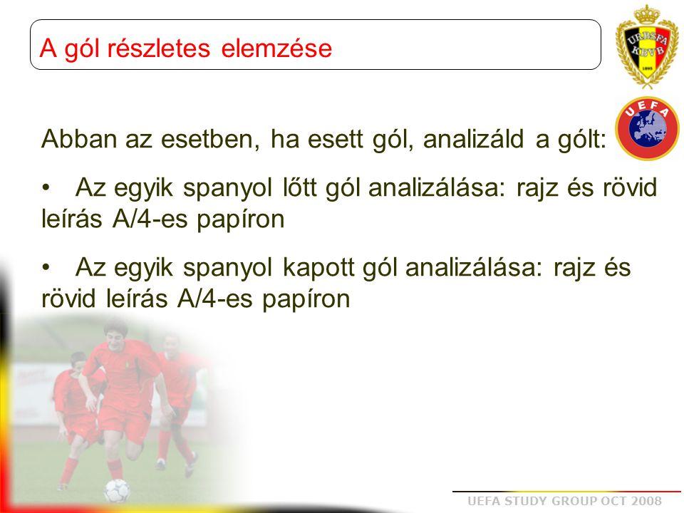 UEFA STUDY GROUP OCT 2008 Abban az esetben, ha esett gól, analizáld a gólt: •Az egyik spanyol lőtt gól analizálása: rajz és rövid leírás A/4-es papíron •Az egyik spanyol kapott gól analizálása: rajz és rövid leírás A/4-es papíron A gól részletes elemzése
