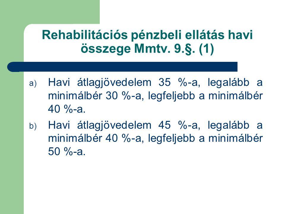Rehabilitációs pénzbeli ellátás havi összege Mmtv. 9.§. (1) a) Havi átlagjövedelem 35 %-a, legalább a minimálbér 30 %-a, legfeljebb a minimálbér 40 %-