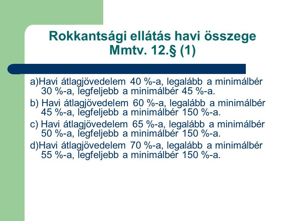 Rokkantsági ellátás havi összege Mmtv. 12.§ (1) a)Havi átlagjövedelem 40 %-a, legalább a minimálbér 30 %-a, legfeljebb a minimálbér 45 %-a. b) Havi át