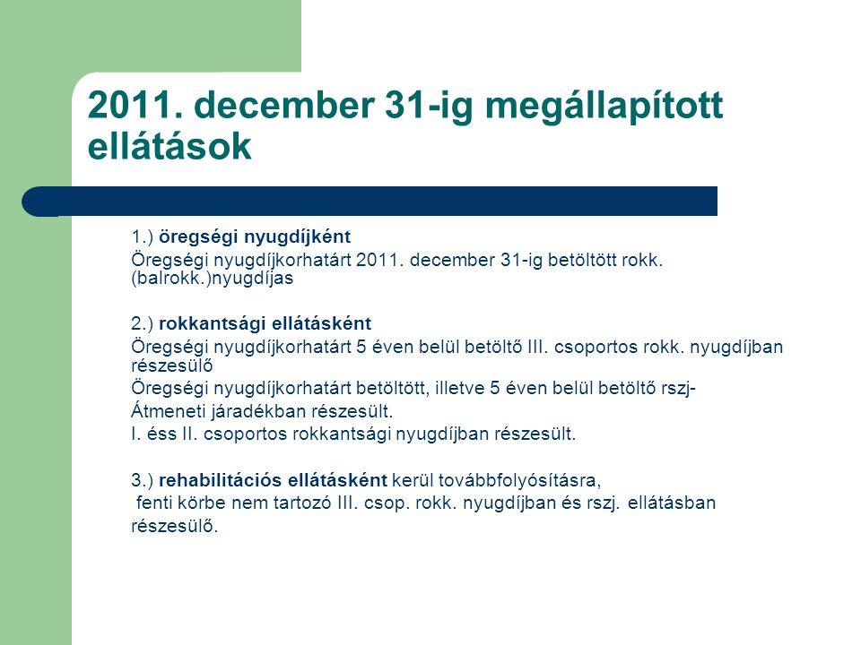2011. december 31-ig megállapított ellátások 1.) öregségi nyugdíjként Öregségi nyugdíjkorhatárt 2011. december 31-ig betöltött rokk. (balrokk.)nyugdíj