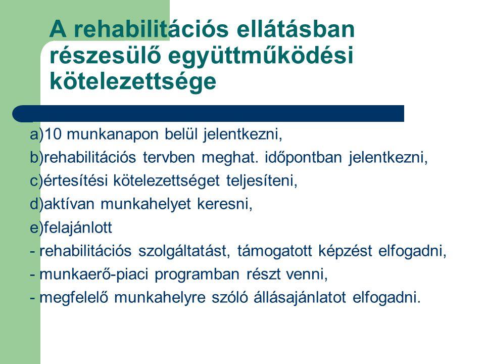 A rehabilitációs ellátásban részesülő együttműködési kötelezettsége a)10 munkanapon belül jelentkezni, b)rehabilitációs tervben meghat. időpontban jel