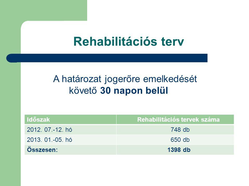 Rehabilitációs terv Időszak Rehabilitációs tervek száma 2012. 07.-12. hó 748 db 2013. 01.-05. hó 650 db Összesen: 1398 db A határozat jogerőre emelked