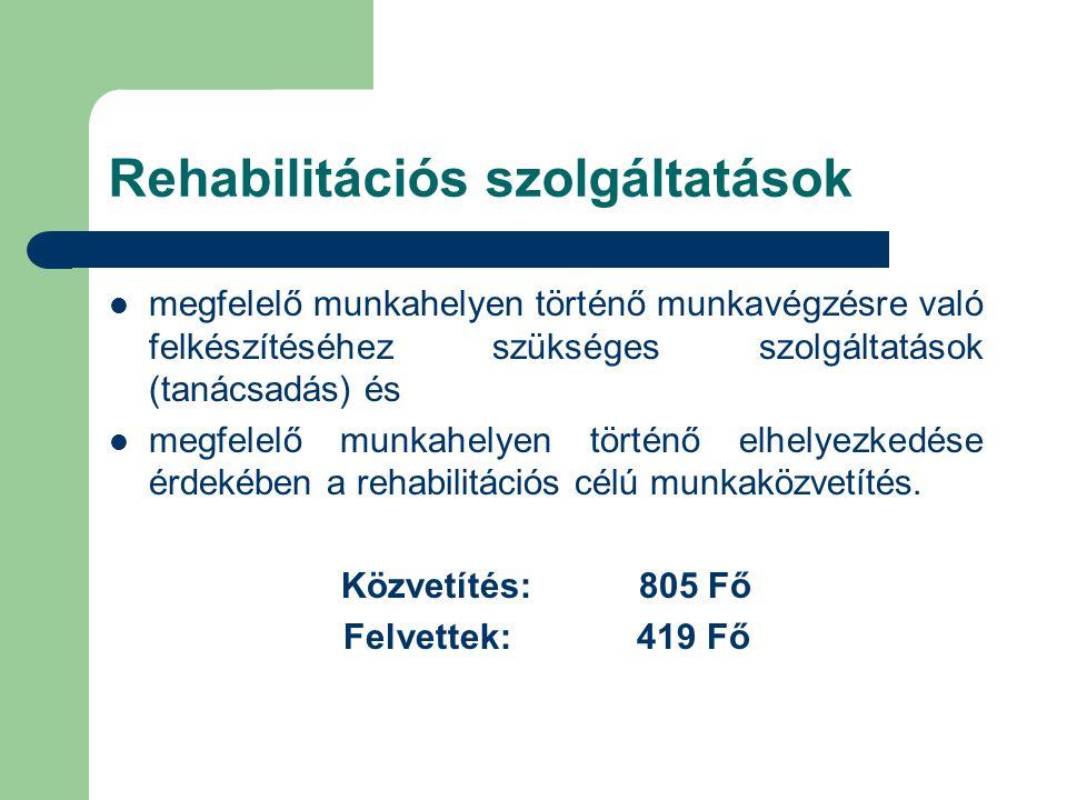 Rehabilitációs szolgáltatások  megfelelő munkahelyen történő munkavégzésre való felkészítéséhez szükséges szolgáltatások (tanácsadás) és  megfelelő munkahelyen történő elhelyezkedése érdekében a rehabilitációs célú munkaközvetítés.