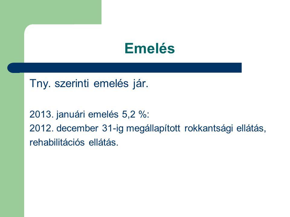 Emelés Tny. szerinti emelés jár. 2013. januári emelés 5,2 %: 2012. december 31-ig megállapított rokkantsági ellátás, rehabilitációs ellátás.