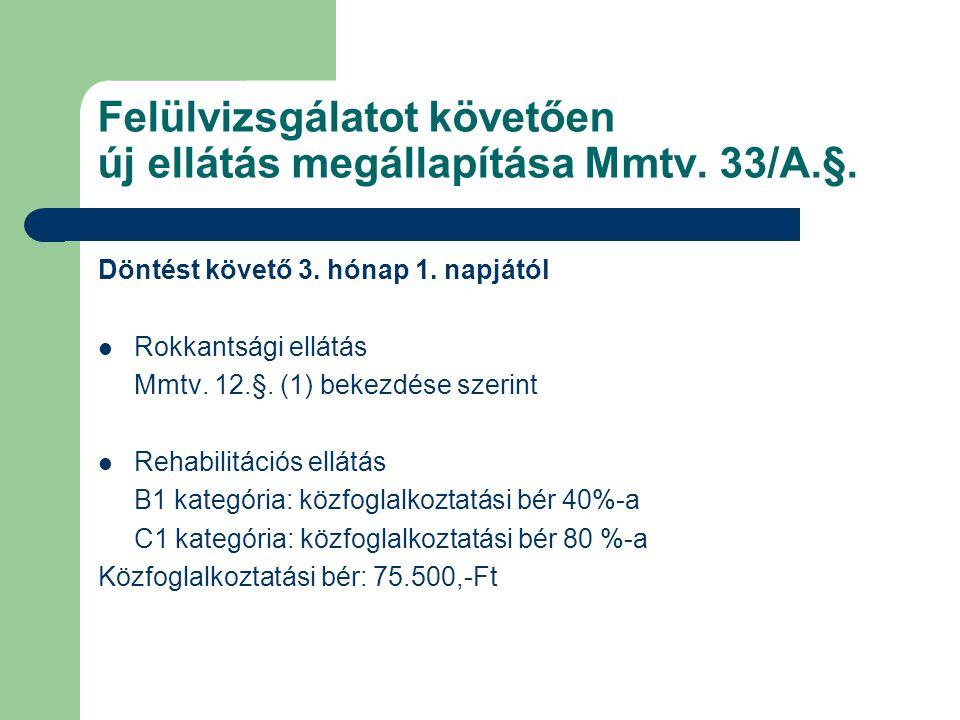 Felülvizsgálatot követően új ellátás megállapítása Mmtv.