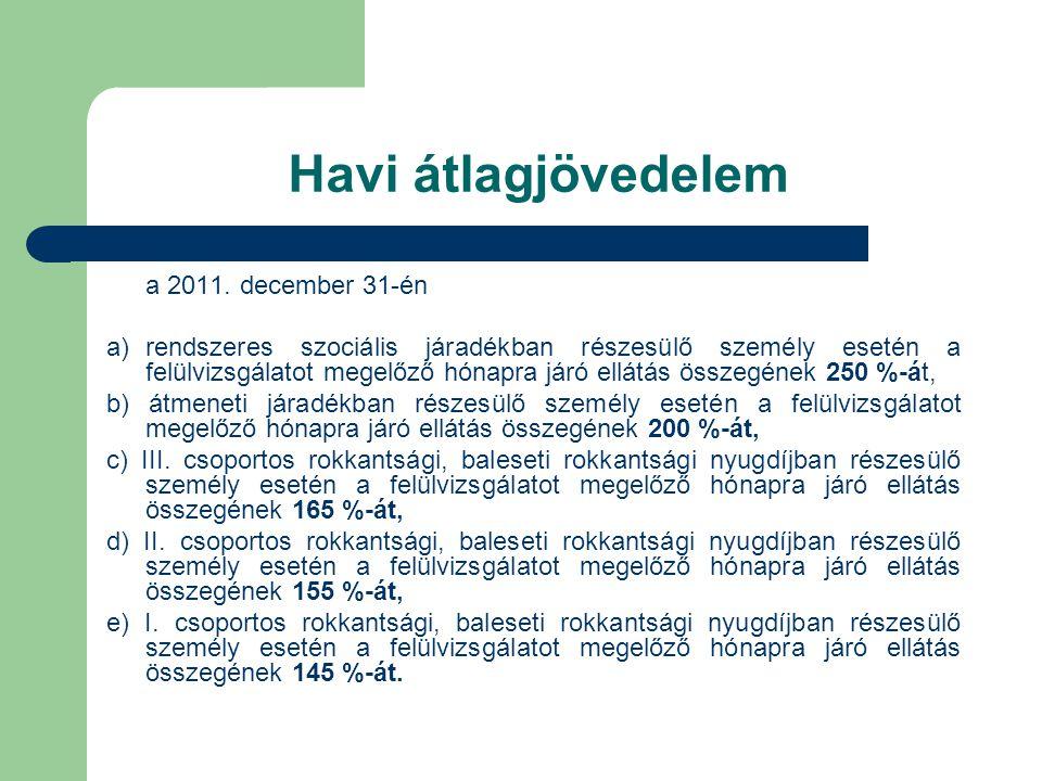 Havi átlagjövedelem a 2011. december 31-én a)rendszeres szociális járadékban részesülő személy esetén a felülvizsgálatot megelőző hónapra járó ellátás