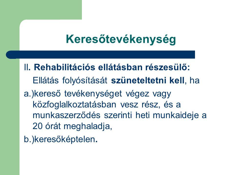 Keresőtevékenység II. Rehabilitációs ellátásban részesülő: Ellátás folyósítását szüneteltetni kell, ha a.)kereső tevékenységet végez vagy közfoglalkoz