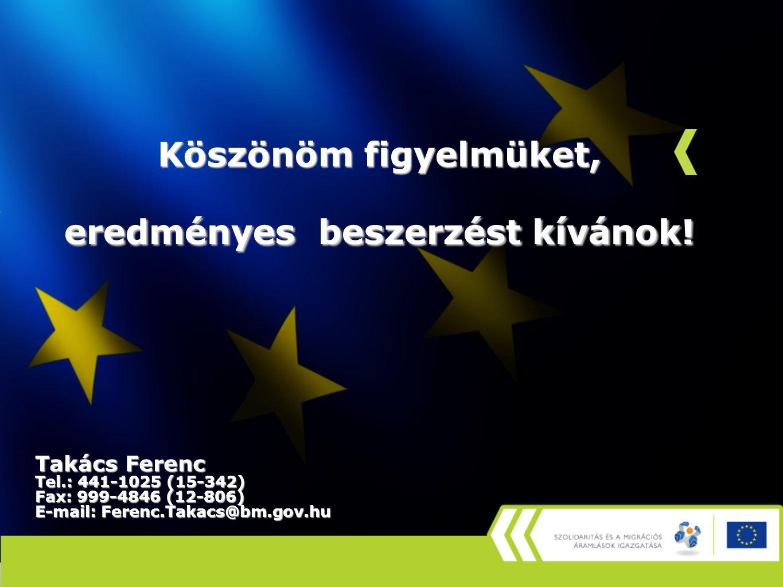 Köszönöm figyelmüket, eredményes beszerzést kívánok! Takács Ferenc Tel.: 441-1025 (15-342) Fax: 999-4846 (12-806) E-mail: Ferenc.Takacs@bm.gov.hu